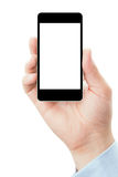 Hand holding smartphone in vertical position Royalty Free Stock Image