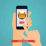 Hand holding smartphone with voting app on the screen. Communica Stock Photography
