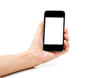 Hand holding Smartphone on white background Royalty Free Stock Image
