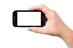 Hand holding smartphone with white screen Stock Photo