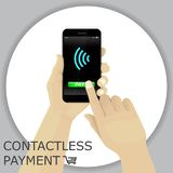 Hand holding smartphone with wifi logo. Finger pressing the butt. On pay. Contactless payment. Vector Royalty Free Stock Photography