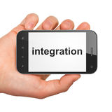 Hand holding smartphone with word integration on Royalty Free Stock Photography