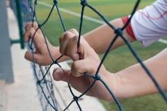 Hand holding soccer net Stock Image
