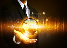 Hand holding social network with globe stock photo