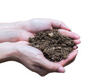 Hand holding soil,Hand dirty with soil Royalty Free Stock Image