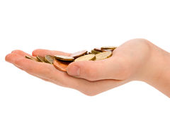 Hand is holding some small euro coins Stock Photo