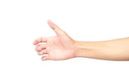 Hand holding something on white background Royalty Free Stock Images
