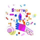 Hand Holding Space Ship Business Startup Development Concept Banner. Vector Illustration Royalty Free Stock Image