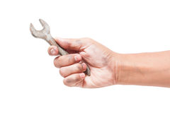 Hand holding a spanner Stock Photo