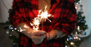 Hand holding sparkler Royalty Free Stock Photography