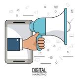 Hand holding speaker smartphone digital marketing. Vector illustration Royalty Free Stock Photo