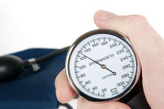 Hand holding a sphygmomanometer isolated Royalty Free Stock Image