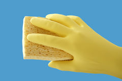 Hand holding sponge, close up Stock Photography