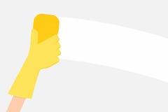 Hand holding sponge. Hand in yellow glove holding sponge. Vector illustration vector illustration