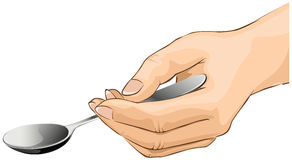 Hand is holding a spoon. Isolated on a white background -  illustration Royalty Free Stock Photos