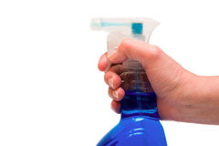 Hand holding spray bottle Royalty Free Stock Photography