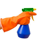 Hand holding spray bottle Royalty Free Stock Image