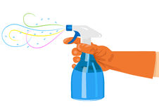 Hand holding a spray bottle Stock Image