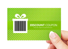 Hand holding spring discount card isolated over white Stock Photos