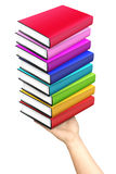 Hand Holding Stack Books Colorful Isolated Royalty Free Stock Photos
