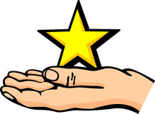 Hand holding a star vector illustration. Vector illustration of a hand holding a star Royalty Free Stock Photo