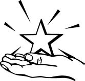 Hand holding a star vector illustration. Vector illustration of a hand holding a star Royalty Free Stock Photography