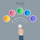 Hand holding start up button with timeline infographic 5 options. Creative concept for infographic with 5 options. Hand holding start up button with timeline Royalty Free Stock Images