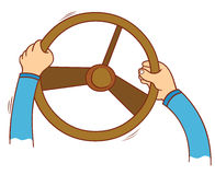 Hand holding steering wheel Royalty Free Stock Images