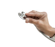 hand holding stethoscope isolated on white Royalty Free Stock Image