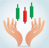 Hand holding stick graph chart of stock market vector Royalty Free Stock Photo