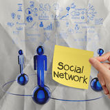Hand holding sticky note human social network  on crumpled pape Royalty Free Stock Photo