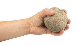 Hand holding stone ball Royalty Free Stock Image