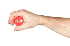 Hand holding stop sign Royalty Free Stock Image