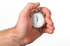 Hand holding stop-watch Royalty Free Stock Images
