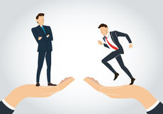 Hand holding Successful businessman standing with crossed arms and running businessman Stock Images