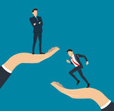 Hand holding Successful standing with crossed arms and running businessman Royalty Free Stock Images