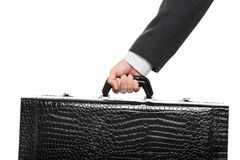 Hand holding suitcase Royalty Free Stock Photo