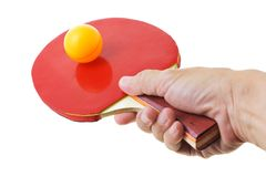 Hand holding table tennis bat Stock Photography
