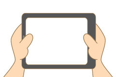 Hand holding tablet Royalty Free Stock Photography