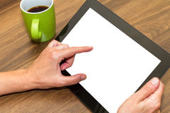 Hand Holding Tablet with Blank Screen Royalty Free Stock Images