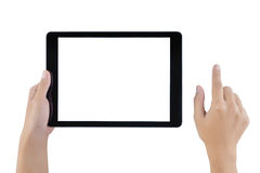 Hand holding tablet blank screen. Woman hand using tablet royalty free stock photos