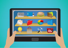 Hand Holding Tablet with Business and E-commerce Apps Icons Stock Photo