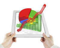 Hand holding tablet with 3d Chart Stock Photo