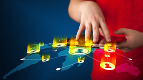 Hand holding tablet device with social network map Stock Photo