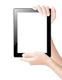 Hand holding tablet digital isolated clipping path inside Stock Photography