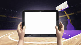 Hand holding tablet empty screen with basket ball arena background. Sport topic arena interior illustration Royalty Free Stock Photography
