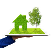 Hand holding a tablet with green house and tree Stock Photo