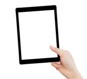 Hand holding tablet isolated clipping path inside Royalty Free Stock Photography