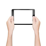 Hand holding tablet isolated white with clipping path Stock Photo