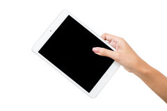 Hand holding tablet isolated white Stock Photos
